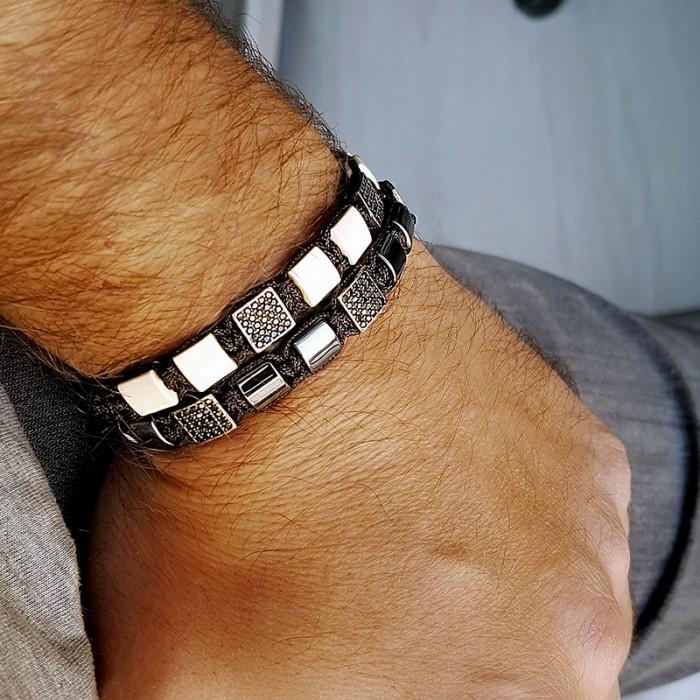 Bej Renk Shamballa Özel Tasarım Gümüş Bileklik